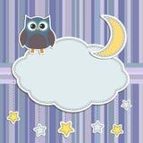 Quadro com coruja, lua e estrelas Imagem de Stock