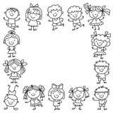Quadro com crianças escola, jardim de infância Crianças felizes Faculdade criadora, ícones da garatuja da imaginação com crianças Fotos de Stock Royalty Free