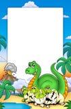 Quadro com dinossauros pequenos Imagem de Stock Royalty Free