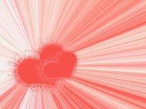 Quadro com dois corações vermelhos ilustração stock