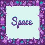 Quadro com elementos do espaço no estilo liso Imagem de Stock Royalty Free