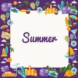 Quadro com elementos do verão no estilo liso Fotos de Stock Royalty Free