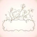 Quadro com elementos florais Imagens de Stock Royalty Free