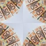 quadro com 50 euro- contas, fundo e textura Imagens de Stock Royalty Free