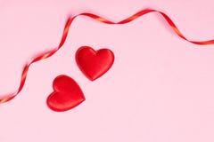 Quadro com fitas e corações Imagem de Stock Royalty Free