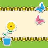 Quadro com flor e borboleta Imagem de Stock
