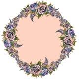 Quadro com flores da aquarela Pe?nias dos lil?s Fest?o das flores Convite do casamento postcard ilustração stock