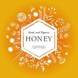 Quadro com flores e abelhas do mel Foto de Stock Royalty Free