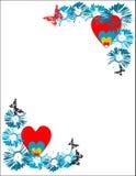 Quadro com flores e corações Imagens de Stock
