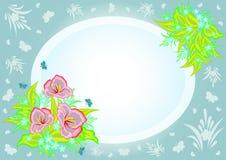 Quadro com flores e fundo abstratos Imagens de Stock Royalty Free