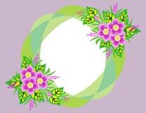 Quadro com flores e fundo abstratos Imagens de Stock