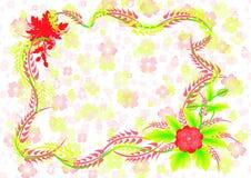 Quadro com flores e fundo abstratos Imagem de Stock Royalty Free