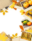 Quadro com folhas e fotos de outono Imagens de Stock