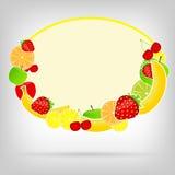 Quadro com ilustração do vetor das frutas frescas Ilustração Stock