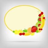 Quadro com ilustração do vetor das frutas frescas Imagens de Stock Royalty Free