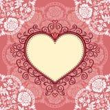 Quadro com laço e coração Fotos de Stock Royalty Free