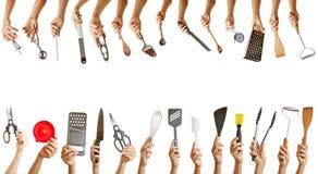 Quadro com muitas ferramentas da cozinha fotografia de stock