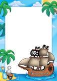 Quadro com navio de pirata Fotografia de Stock
