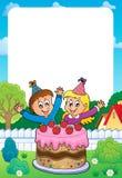 Quadro com o bolo e as duas crianças que comemoram ilustração do vetor