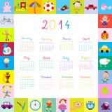Quadro com o calendário 2014 com brinquedos Fotografia de Stock Royalty Free