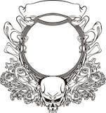 Quadro com o crânio no estilo de Nouveau da arte Imagem de Stock