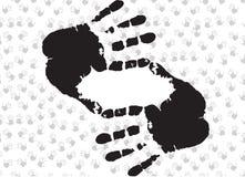 Quadro com o símbolo da colheita feito das mãos no fundo com palmas humanas Imagem de Stock Royalty Free