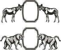 Quadro com os animais de África ilustração royalty free