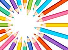 Quadro com os lápis coloridos no fundo branco ilustração royalty free