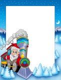 Quadro com Papai Noel e trem Fotos de Stock Royalty Free