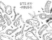 Quadro com produtos de carne Menu do restaurante ou carniceiro Shop Template Bife, cordeiro, reforço de carne de porco Ilustração Imagem de Stock