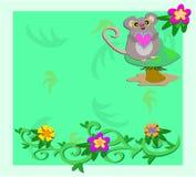 Quadro com rato em um cogumelo Imagens de Stock