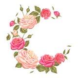 Quadro com rosas do vintage Flores retros decorativas Imagem para convites do casamento, cartões românticos, brochuras Fotografia de Stock Royalty Free