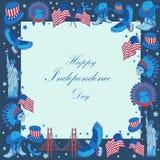 Quadro com símbolos dos EUA no estilo liso Fotos de Stock Royalty Free