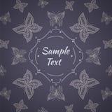 Quadro com teste padrão de borboletas do lineart Fotografia de Stock