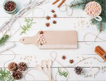 Quadro a composição do Natal do cacau com marshmallow, canela, estrelas do anis, sementes do café, árvore de abeto, colheres e in Imagem de Stock Royalty Free