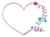 Quadro coração-dado forma bonito da flor com suficiência do inclinação Quadro da silhueta da cor ilustração stock