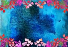 Quadro criativo para o projeto do cartaz, bandeira, cartões Elementos ervais da aquarela pintado à mão vibrante Detalhes botânico ilustração stock