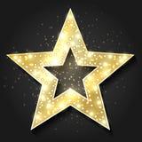 Quadro 3d retro da forma das estrelas com luzes Elemento do projeto da estrela de cinema de hollywood do vetor