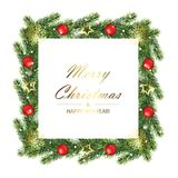 Quadro da árvore do Natal e do ano novo com ramos do abeto Imagens de Stock