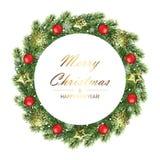 Quadro da árvore do Natal e do ano novo com ramos do abeto Fotos de Stock