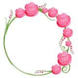 Quadro da aquarela com rosas e ondas Foto de Stock