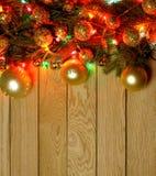 Quadro da beira da parte superior do ` s do ano novo Fundo de madeira do Natal Imagem de Stock