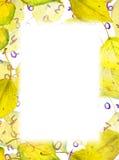 Quadro da beira do outono - o amarelo sae, números, letras watercolor Fotos de Stock Royalty Free