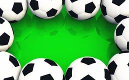 Quadro da bola de futebol no verde ilustração do vetor