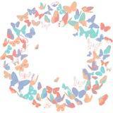 Quadro da borboleta, elemento do projeto da grinalda, bandeira retro Fotos de Stock Royalty Free