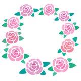 Quadro da flor de Rosa, lugar para o texto das rosas, caixa limitando das flores, beira floral agradável, ilustração do vetor fotos de stock