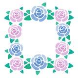 Quadro da flor de Rosa, lugar para o texto das rosas, caixa limitando das flores, beira floral agradável, ilustração do vetor foto de stock royalty free
