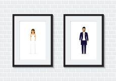 Quadro da foto dos pares do casamento Imagens de Stock