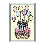 Quadro da garatuja com aniversário das velas e dos balões do bolo ilustração royalty free