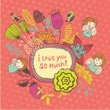 Quadro da ilustração com flores bonitos e fadas Imagens de Stock Royalty Free